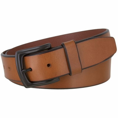 """2445 Casual  Full Grain Feather Edge Leather Belt Black Buckle - 1 1/2"""" Wide  - TAN"""