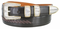 2515 Western Cowboy Dress Lacing Leather Belt - BLACK/BROWN