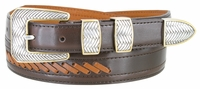 2516 Western Cowboy Dress Lacing Leather Belt - BROWN/TAN