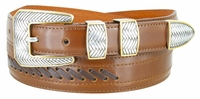 2517 Western Cowboy Dress Lacing Leather Belt - TAN/BROWN