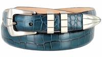 NEW!! 2526 Italian Calfskin Leather Alligator Embossed Leather Belt - AQUA