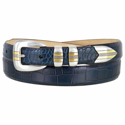 NEW!! 2533 Italian Calfskin Leather Alligator Embossed Leather Belt - AQUA
