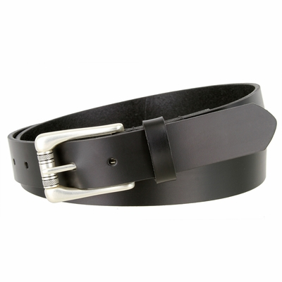 "NEW!!! 2546 Casual Or Dress One Piece Smooth Finish Leather Belt - 1 1/8"" Wide - BLACK"
