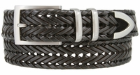 "NEW!!! 3 Holes Braided Woven Leather Belt 1-3/8"" wide - BLACK"