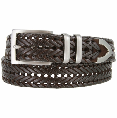 "NEW!!! 3 Holes Braided Woven Leather Belt 1-3/8"" wide - BROWN"