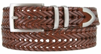 "NEW!!! 3 Holes Braided Woven Leather Belt 1-3/8"" wide - TAN"