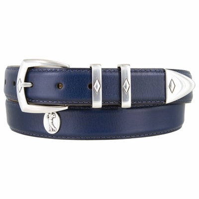 "NEW!!! 3098 Silver Golf Italian Calfskin Leather Belt - 1 1/8"" WIDE"