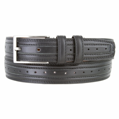 """3101 Double Stitched Perforated Center Dress Belt - 1 1/8"""" wide - 4 COLORS AVAILABLE"""