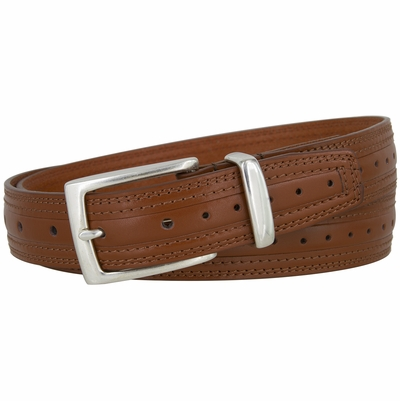 "NEW!! 3142 Center Perforated Dress Leather Belt - 1 1/8"" Wide - 4 Colors Available"