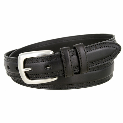 "NEW!!! 3144 Perforated Edges Double Stitched Leather Dress Belt - 1 1/8"" Wide - 3 Colors Available"