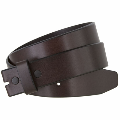 "3211 Casual One Piece Genuine Full Grain Leather Belt Strap Feathered Edge - 1 1/2"" Wide- BROWN"