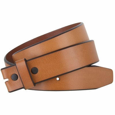 "NEW!!! 3211 Casual One Piece Genuine Full Grain Leather Belt Strap Feathered Edge - 1 1/2"" Wide- TAN"