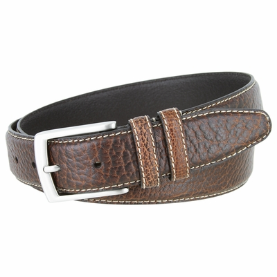 "NEW!!! 3291 Genuine Bison Leather Dress Belt - 1 3/8"" Wide - BROWN"