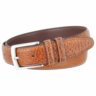 "NEW!!! 3292 Genuine Bison Leather Dress Belt - 1 3/8"" Wide - TAN"