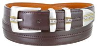 "3371 Designer Double Center Stitched Leather Dress Belt - 1 1/8"" wide 4 colors available"