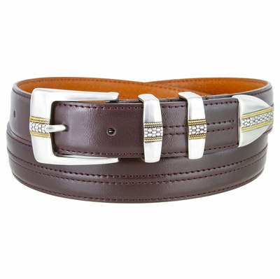 "NEW!!! 3371 Designer Double Center Stitched Leather Dress Belt - 1 1/8"" wide 4 colors available"