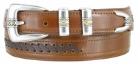 3388 Cowboy - Western Lacing Dress Leather Belt - TAN/BROWN