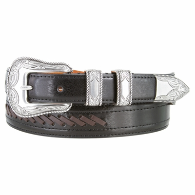 3396 Cowboy - Western Leather Dress Lacing Belt - BLACK/BROWN