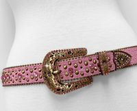 "NEW!!! 35116 Women's Belts Rhinestone Belt Fashion Western Cowgirl Bling Studded Design Leather Belt 1-3/8""(35mm) wide - PINK"