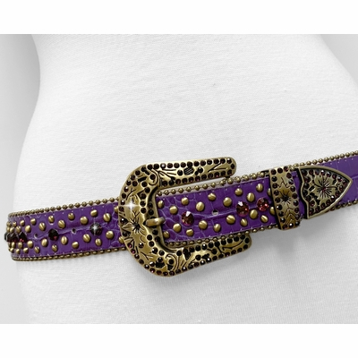 "35116 Women's Belts Rhinestone Belt Fashion Western Cowgirl Bling Studded Design Leather Belt 1-3/8""(35mm) wide - PURPLE/AMETHYST"