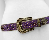 "NEW!!! 35116 Women's Belts Rhinestone Belt Fashion Western Cowgirl Bling Studded Design Leather Belt 1-3/8""(35mm) wide - PURPLE/AMETHYST"