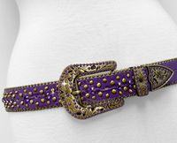 "NEW!!! 35116 Women's Belts Rhinestone Belt Fashion Western Cowgirl Bling Studded Design Leather Belt 1-3/8""(35mm) wide - PURPLE/LT AMETHYST"