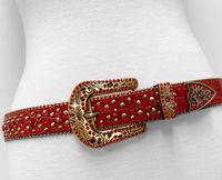 "NEW!!! 35116 Women's Belts Rhinestone Belt Fashion Western Cowgirl Bling Studded Design Leather Belt 1-3/8""(35mm) wide - RED"