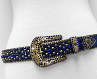"NEW!!! 35116 Women's Belts Rhinestone Belt Fashion Western Cowgirl Bling Studded Design Leather Belt 1-3/8""(35mm) wide - ROYAL BLUE/BRASS"
