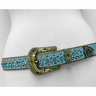 "35116 Women's Belts Rhinestone Belt Fashion Western Cowgirl Bling Studded Design Leather Belt 1-3/8""(35mm) wide - TEAL BLUE"