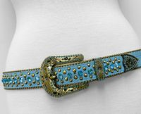 "NEW!!! 35116 Women's Belts Rhinestone Belt Fashion Western Cowgirl Bling Studded Design Leather Belt 1-3/8""(35mm) wide - TEAL BLUE"