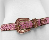 "NEW!!! 35158 Women's Belts Rhinestone Belt Fashion Western Cowgirl Bling Studded Design Leather Belt 1-3/8""(35mm) wide - PINK"