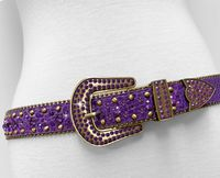 "NEW!!! 35158 Women's Belts Rhinestone Belt Fashion Western Cowgirl Bling Studded Design Leather Belt 1-3/8""(35mm) wide - PURPLE/LT AMETHYST"
