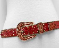 "NEW!!! 35158 Women's Belts Rhinestone Belt Fashion Western Cowgirl Bling Studded Design Leather Belt 1-3/8""(35mm) wide - RED"