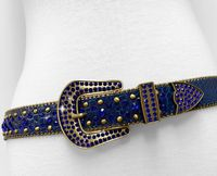 "NEW!!! 35158 Women's Belts Rhinestone Belt Fashion Western Cowgirl Bling Studded Design Leather Belt 1-3/8""(35mm) wide - ROYAL BLUE"