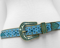 "NEW!!! 35158 Women's Belts Rhinestone Belt Fashion Western Cowgirl Bling Studded Design Leather Belt 1-3/8""(35mm) wide - TEAL BLUE"