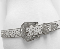 "NEW!!! 35158 Women's Belts Rhinestone Belt Fashion Western Cowgirl Bling Studded Design Leather Belt 1-3/8""(35mm) wide - WHITE"