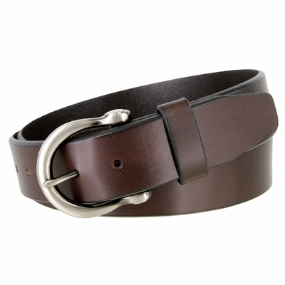 """NEW!!! 3705 Casual Full Grain Feather Edge Leather Belt Nickel Brushed Buckle - 1 1/2"""" WIDE - 3 COLORS AVAILABLE"""