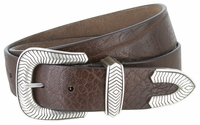 "NEW!! 3808 Made in U.S. - Western Full Grain One Piece Leather Belt - 1 1/2"" Wide BROWN"
