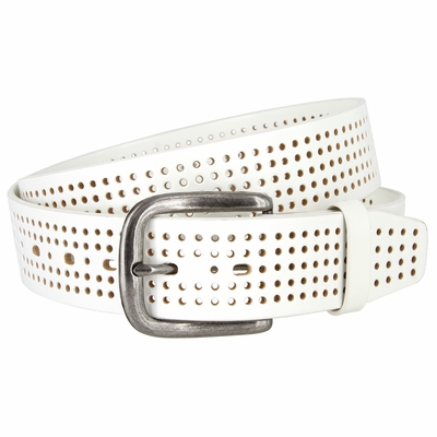 "3810 Perforated 100% Leather Casual Jean Belt - 1 1/2"" Wide - WHITE"