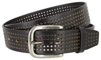 "3811 Perforated 100% Leather Casual Jean Belt - 1 1/2"" Wide - BLACK"