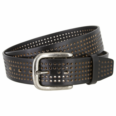 """3811 Perforated 100% Leather Casual Jean Belt - 1 1/2"""" Wide - BLACK"""