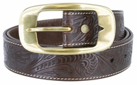 "3819 Western Floral Embossed Leather Belt - 1 1/2"" Wide"