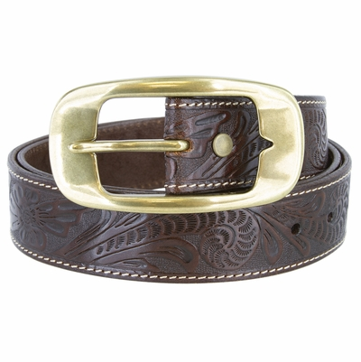 """NEW!!! 3819 Western Floral Embossed Leather Belt - 1 1/2"""" Wide"""