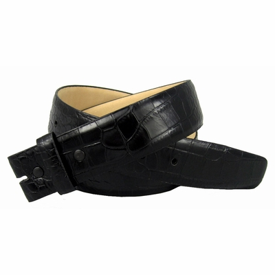 "NEW!! 3878 Genuine Italian Calf Skin Alligator Embossed Strap - 1 1/2"" Wide  - BLACK"
