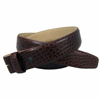 "NEW!!! 3878 Genuine Italian Calf Skin Alligator Embossed Strap - 1 1/2"" Wide - BROWN"