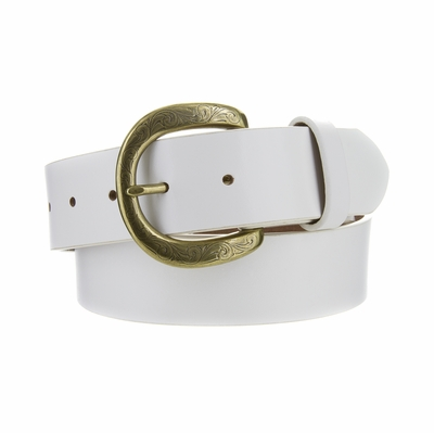 "NEW!! 3907 Women's Casual Genuine Full Grain Leather Belt  1 1/2"" White - Brass Buckle"