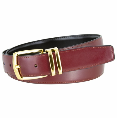 "NEW!!! 4008 Men's Reversible Leather Dress Belt Curved Double Loop Gold Clamp Buckle - 1 1/8"" wide"