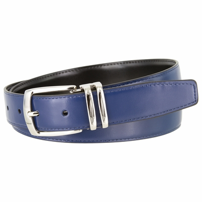 """NEW!!! 4008 Men's Reversible Leather Dress Belt Curved Double Loop Silver Clamp Buckle - 1 1/8"""" wide"""