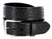 "NEW!! 4077 Men's Basket-weave Work Uniform Leather Belt 1-1/2"" WIDE - BLACK"