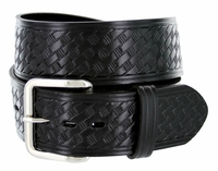 "NEW!!! 4078 Basket-weave Work Uniform Leather Belt - 1 3/4"" Wide - BLACK"